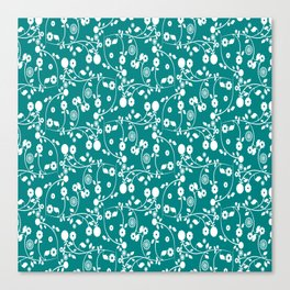 Teal Green Floral Pattern Canvas Print