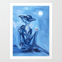 Don Quixote and his wine (Don Quijote y su vinito)  Art Print