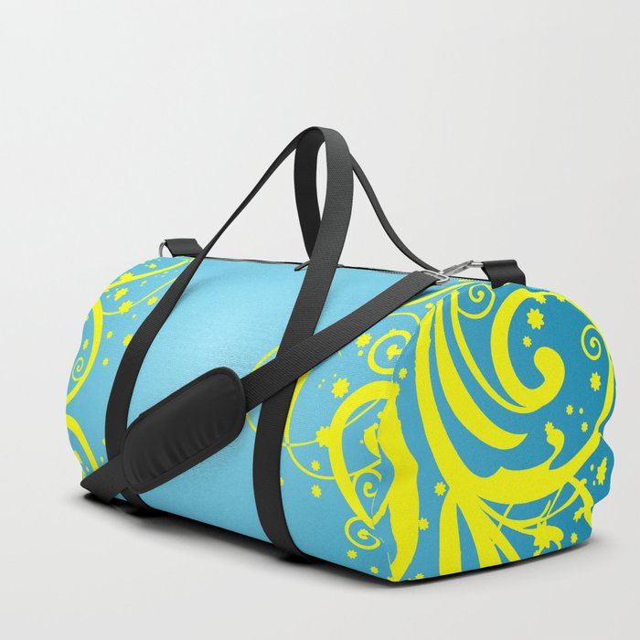 f6dfb66fa896 Abstract blue-yellow background Duffle Bag by angelinna