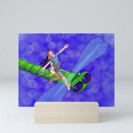 Dragonfly riders Mini Art Print