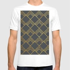 Diamond Art Deco; - Black & Gold  MEDIUM White Mens Fitted Tee