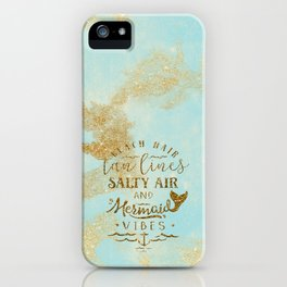 Beach - Mermaid - Mermaid Vibes - Gold glitter lettering on teal glittering background iPhone Case