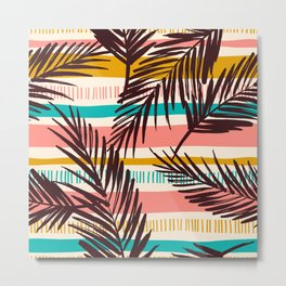 Tribal Tropical Leaf Pattern Metal Print