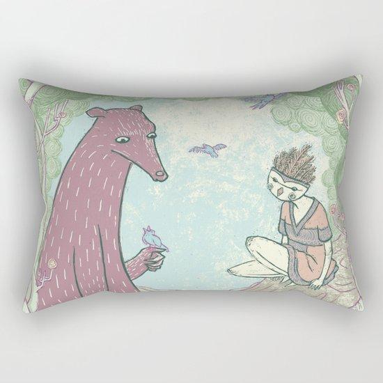 Bear and Bird Rectangular Pillow