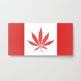 Canada Cannabis Flag Metal Print