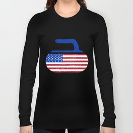 Vintage USA Curling American Flag Curling Stone Classic mechanic t-shirts Long Sleeve T-shirt