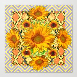 Western Style Lilac Color Golden Sunflowers Gold Pattern Art Canvas Print