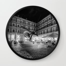 Night Time at the Plaza Mayor of Madrid BW Wall Clock