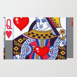 RED QUEEN OF HEARTS ON GREY Rug