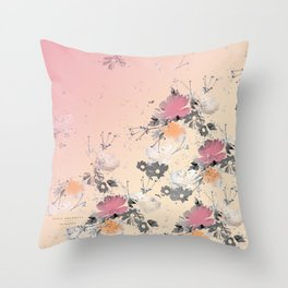 ombre floral - all Throw Pillow