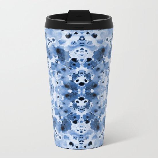 Indigo Splash - painterly blue artist summer watercolor cute cell phone case Metal Travel Mug
