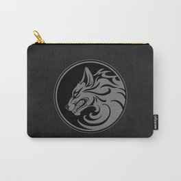 Gray and Black Growling Wolf Disc Carry-All Pouch