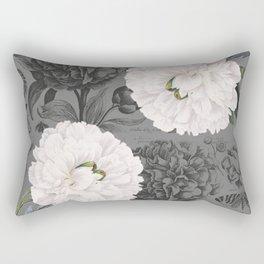 White Peony Grey Chic Rectangular Pillow