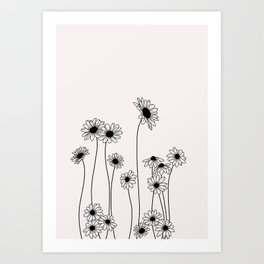 Daisy flowers illustration - Natural Art Print