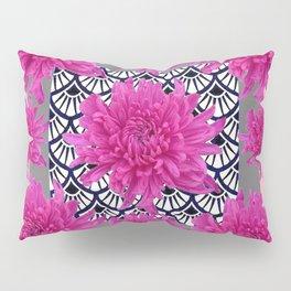 GREY ART DECO FUCHSIA CHRYSANTHEMUM FLORAL Pillow Sham