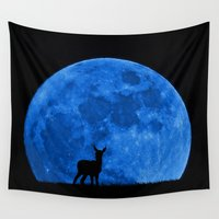 bambi Wall Tapestries featuring Blue Moon Bambi by Pirmin Nohr