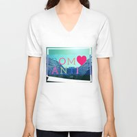 romantic V-neck T-shirts featuring ROMANTIC by famenxt