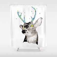 Geosafari   Deer (White) Shower Curtain