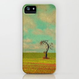 Lonesome Tree in Lime and Orange Field and Aqua and White Sky iPhone Case