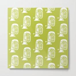 Tuba Pattern Chartreuse Green Metal Print