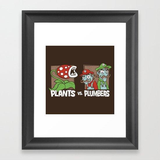Plants Vs Plumbers  Framed Art Print
