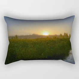 Bright sun over tall grass of a forest swamp Rectangular Pillow