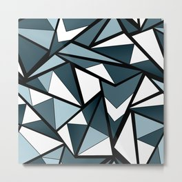 Geometric pattern in grey and white tones . Metal Print