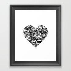 Skull Black Heart Framed Art Print