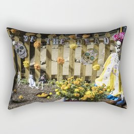 Day of the Dead Cemetery Altar with Marigolds and Frida Kahlo Skeleton Lady Rectangular Pillow