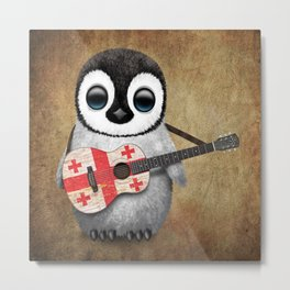 Baby Penguin Playing Georgian Flag Acoustic Guitar Metal Print