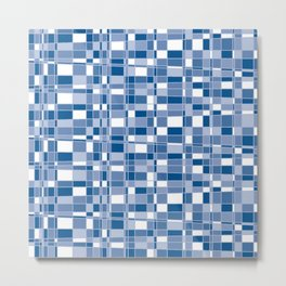 Mod Gingham - Blue Metal Print