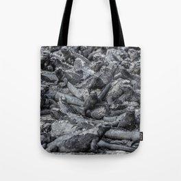 Galapagos marine iguanas sleeping art background Tote Bag