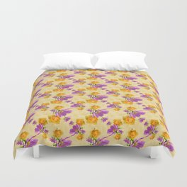 Cosmos and Rose Pattern Duvet Cover