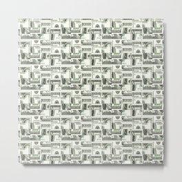 100 Dollar Motif Pattern Design Metal Print