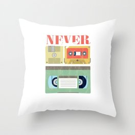 Never Forget Classic Tapes Cassettes VHS Diskette Floppy Disk Gift Throw Pillow