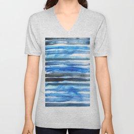 blue brush stroke Unisex V-Neck