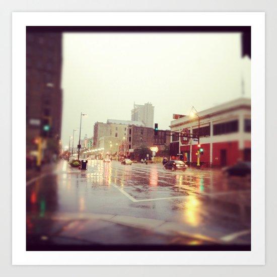 Minneapolis Rainy Day Art Print