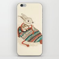bunny iPhone & iPod Skins featuring cozy chipmunk by Laura Graves