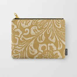 Tan & Cream Tooled Leather Carry-All Pouch