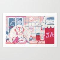nan lawson Art Prints featuring Baking Nan by StinkyInky_Jess