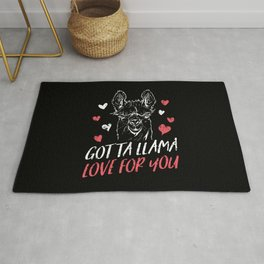 Cute Heart Gotta Llama Love For You Valentines Day Design Rug