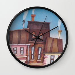 Funny houses colored pencils drawing Wall Clock