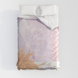 Spring-mood, hello-spring, spring-is-coming, spring, quotes, collage, cyclamen lilac, society6 Comforters