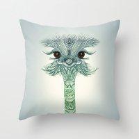 ostrich Throw Pillows featuring Ostrich  by Monika Strigel