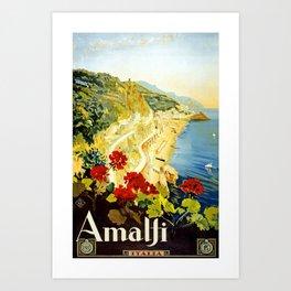 Amalfi Coast, Italy Vintage Travel Poster Art Print