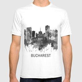 Bucharest Romania Skyline BW T-shirt