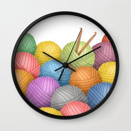 Two Crochet Hooks And A Lot Of Yarn Wall Clock