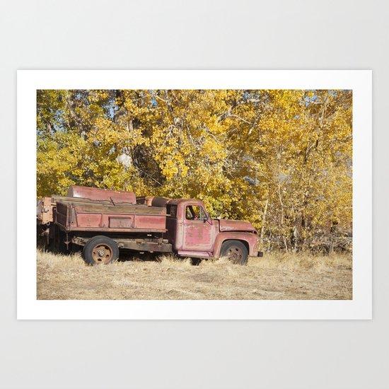 Red Truck in Fall Art Print