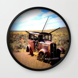 Broken Down in the Painted Desert Wall Clock
