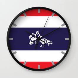 Thailand Flag, Roosters Sparring Wall Clock